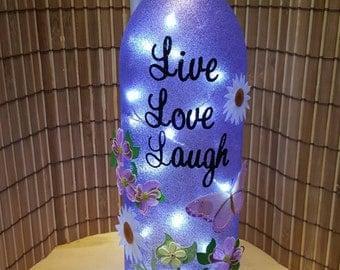 Lighted wine bottle. Great gift idea