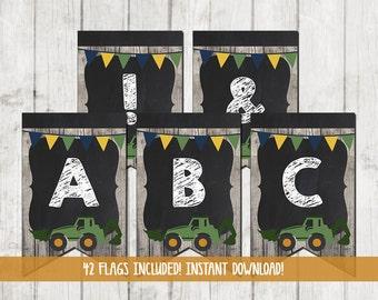 Printable Tractor Banner, Tractor Bunting, Tractor Party Favors,Tractor Party Banner, Tractor Party, Farm Barn Wood Green Tractor Chalkboard