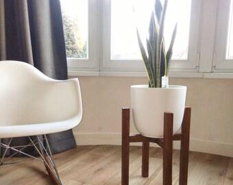 Mid Century Planter-Mid Century Modern Plant Stand-Wood-Walnut-Wood-flower pot holder