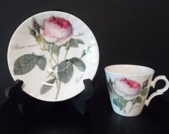 Redoute Roses Roy Kirkham Fine Bone China ~ Demitasse Cup and Saucer
