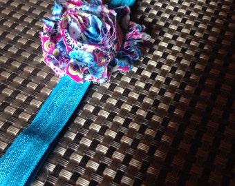 1-3 Years Floral Shabby Headband on Blue Elastic
