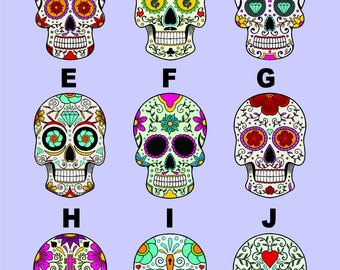 Sugar Skull Vinyl Decal Colorful