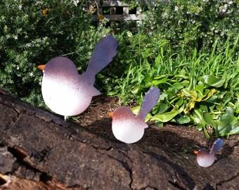 Blue Wren or Fairy Wren FEMALE aluminium bird garden art - no rust