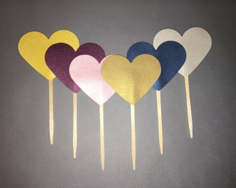 Shimmer Heart Cupcake Toppers