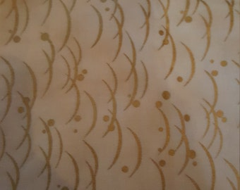 Cream and Gold Hanami Quilting Fabric