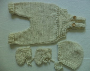 Set knitted pants shoes Cap Gr. 50/56 baby wool