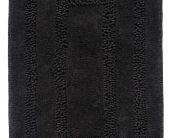 Hand Made Black Cotton Aena Bath Rug/Bath Mat(100cm x 60cm),2 Piece
