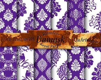 Royal Purple Damask Digital Paper Pack: Printable Scrapbook Paper Patterns, Instant Download Dark Purple Backgrounds, Violet Backdrops