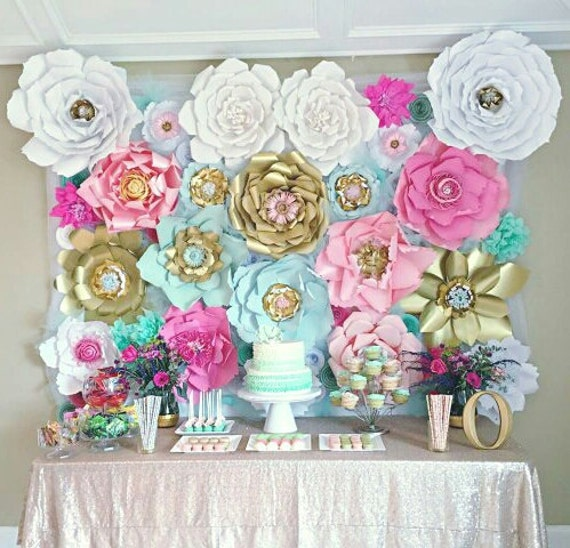 Pink mint gold giant paper flower backdrop romantic shabby chic by il570xn mightylinksfo
