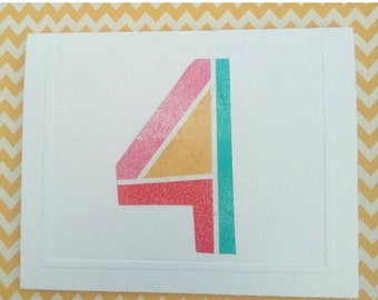 ON SALE Child's 4th Birthday Card & Envelope - Fun - Colourful