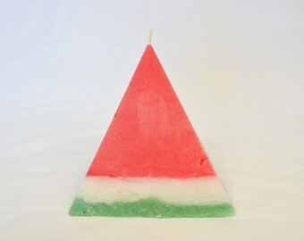 Pyramid Shaped Watermelon Colored Candle