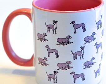 Greyhound Whippet Mug Dog Puppy Print Pattern Pink