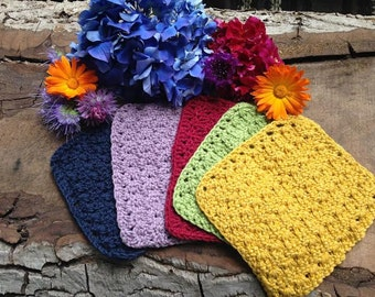 Hand Crocheted Organic Cotton and Merino Wool Washcloth sets.