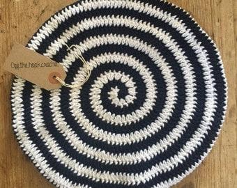 Navy/ White Stripe Crocheted Beret