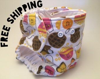 Diaper Cover / Potty Training Underwear, Happy Breakfast Print, Absorbent, Adjustable, Preemie / Newborn / Toddler