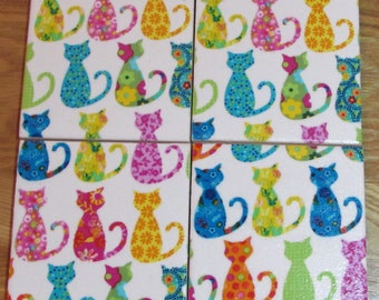 MICHAEL MILLER Shabby Chic - Set of 2 or 4 Ceramic Coasters - Rainbow Calico Cats Fabric - Handmade