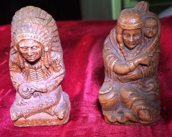 Rare composition wood native american salt and pepper shakers