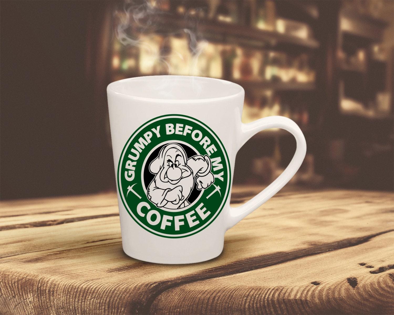 Starbucks Grumpy Before My Coffee Vinyl Decal Coffee Mug