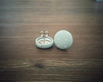 Aqua Earrings. White Polka Dots. Handmade Earrings. Fabric Button Earrings. Gifts For Her. Gifts Under 20. Stud Earrings. Clip On Earrings.