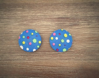 Set of 2 Multi-coloured Dots Fabric Button Magnets 28mm