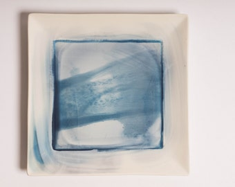 Cyanotype printed decorative ceramic plate