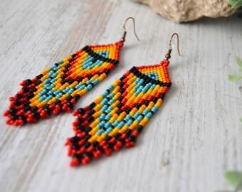 Long earrings, Native style earrings, Beaded earrings,  boho style, Native American Beaded Earrings, Boho earrings, tassel earrings, Huichol