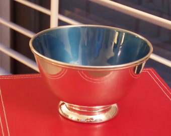 Vintage Enamel Silver Plate Bowl by Towle Blue and Teal in color