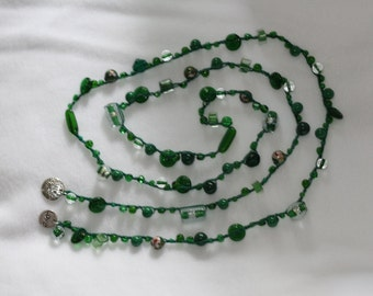 Green Crocheted Beaded Necklace