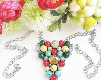 Pendant  natural stone green yellow red