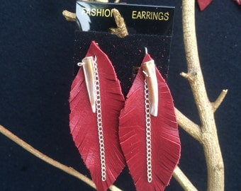 Genuine red leather feather earrings