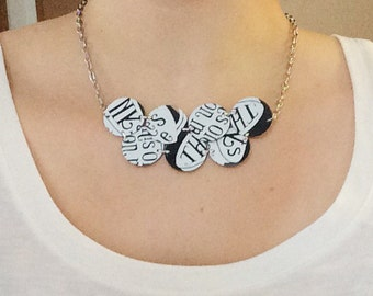 SALE - Upcycled Statement Necklace - Black and White Circles