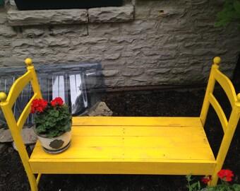 SOLD example- Yellow Garden Bench