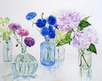 Flowers in glass bottles. Original watercolour.