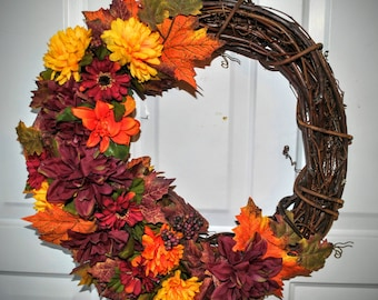 Fall Grapevine Wreath - Thanksgiving Wreath - Fall Folage Colors - Berries - Burgundy Wreath - Silk Floral Wreath -  Country Cottage