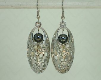 Peace Cage with Hematite Beaded Earrings