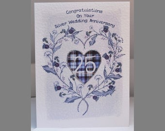 Special Wishes Large Thistle Heart Silver Anniversary Card SW WE09