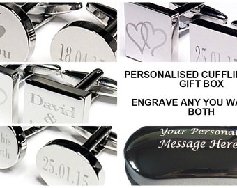 Custom Engraved Cufflinks and Gift Box