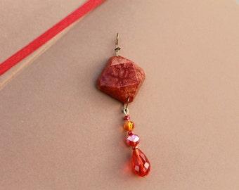 Fiery Red Resin Jewel Pendant