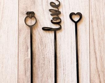 Set of 15 Drink Stir Sticks - Wedding, Engagement, Party Stir Sticks