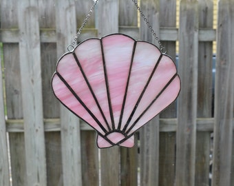Pink clam sea shell #1 stained glass suncatcher
