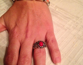 Antique coral braclet with antique ring