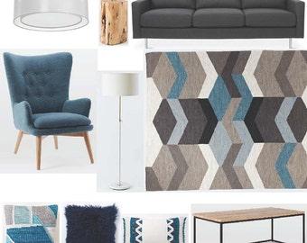 Interior Design Service Living Room Design Virtual Design Mood Board Shopping List