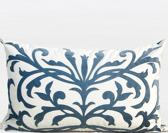 "Luxury Sky Blue European Pattern Embroidered Pillow Cover 14""X22"""