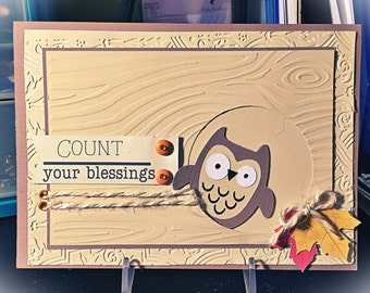 Owl count your blessings card