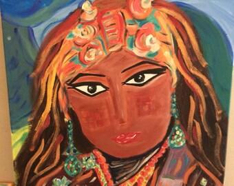 Woman Nepal. Portrait on canvas 70 X 60 cm
