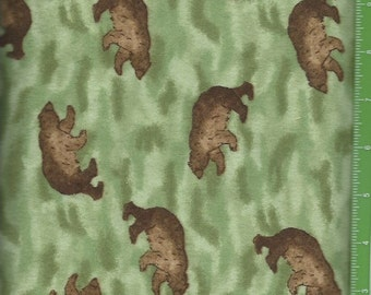 Brown Bears, on Green flannel