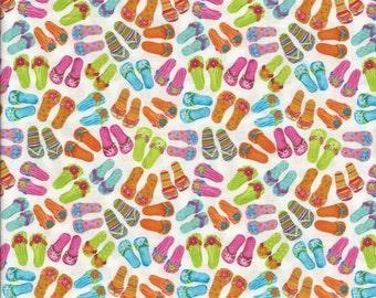 Flip Flops Fabric...Flip Floppin Fun Green Orange Pink Blue Flip Flops on white Quilt Fabric TT 9693.