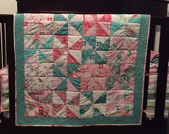 Beautiful, Elegant, and Sweet Baby Quilt in Pinks and Greens