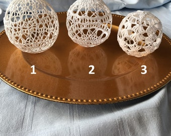 Set of 3 Decorative Crocheted Balls for Weddings or Home Decor