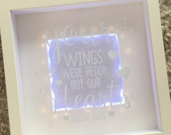 NEW light up box frame, with beautiful quote.